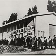 Studetns wait in line to register for classes at CSU East Bay in 1959 when it was still Alameda State.