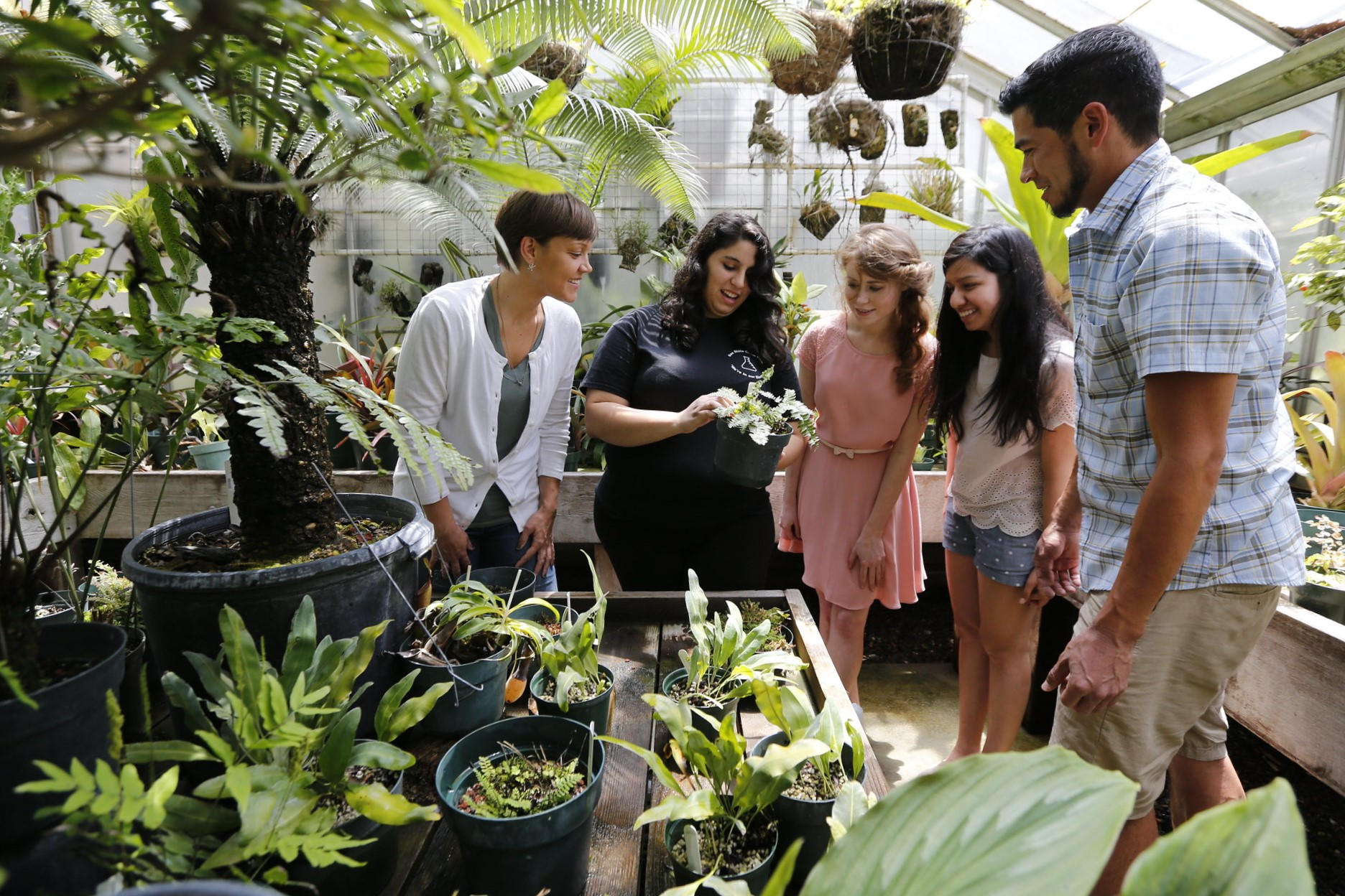 A group of five college students examining a plant in a greenhouse.