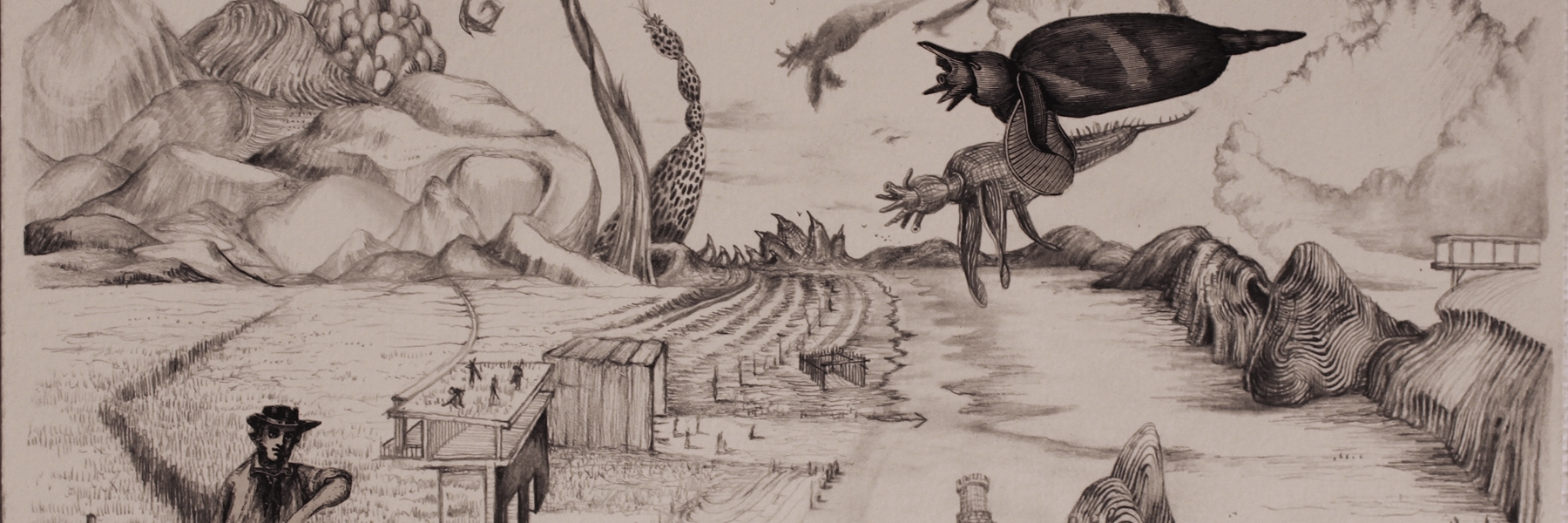 Black and white drawing of a surreal landscape