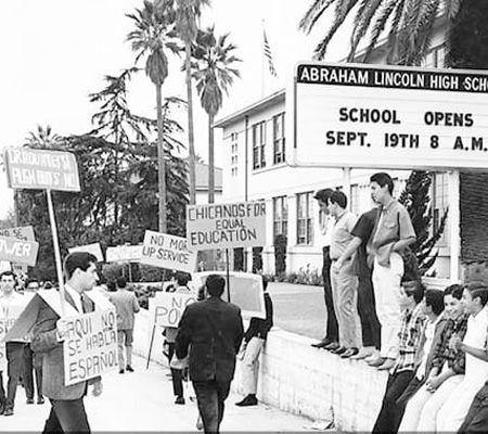 Students protesting in Los Angeles
