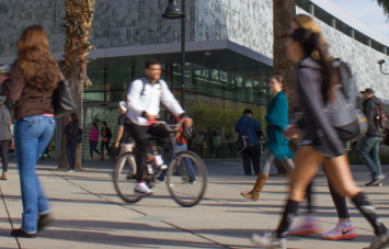 Transfer - Which Campus is Right for You - Man riding bike on campus