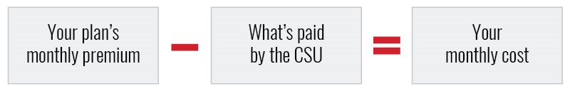 Your plan's monthly premium – what's paid by the CSU = your monthly cost