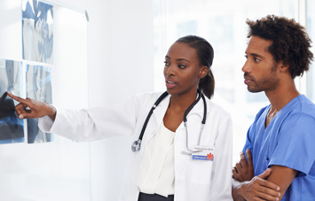 Physician Assistant explaining x-rays