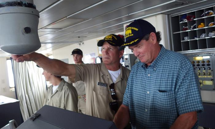 Chancellor White visits Cal Maritime in 2013.