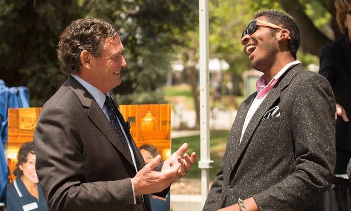 Chancellor White makes a campus visit to Cal State Fullerton in 2013.