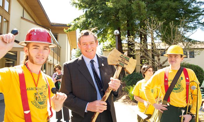 Chancellor White visits Humboldt State in 2013.