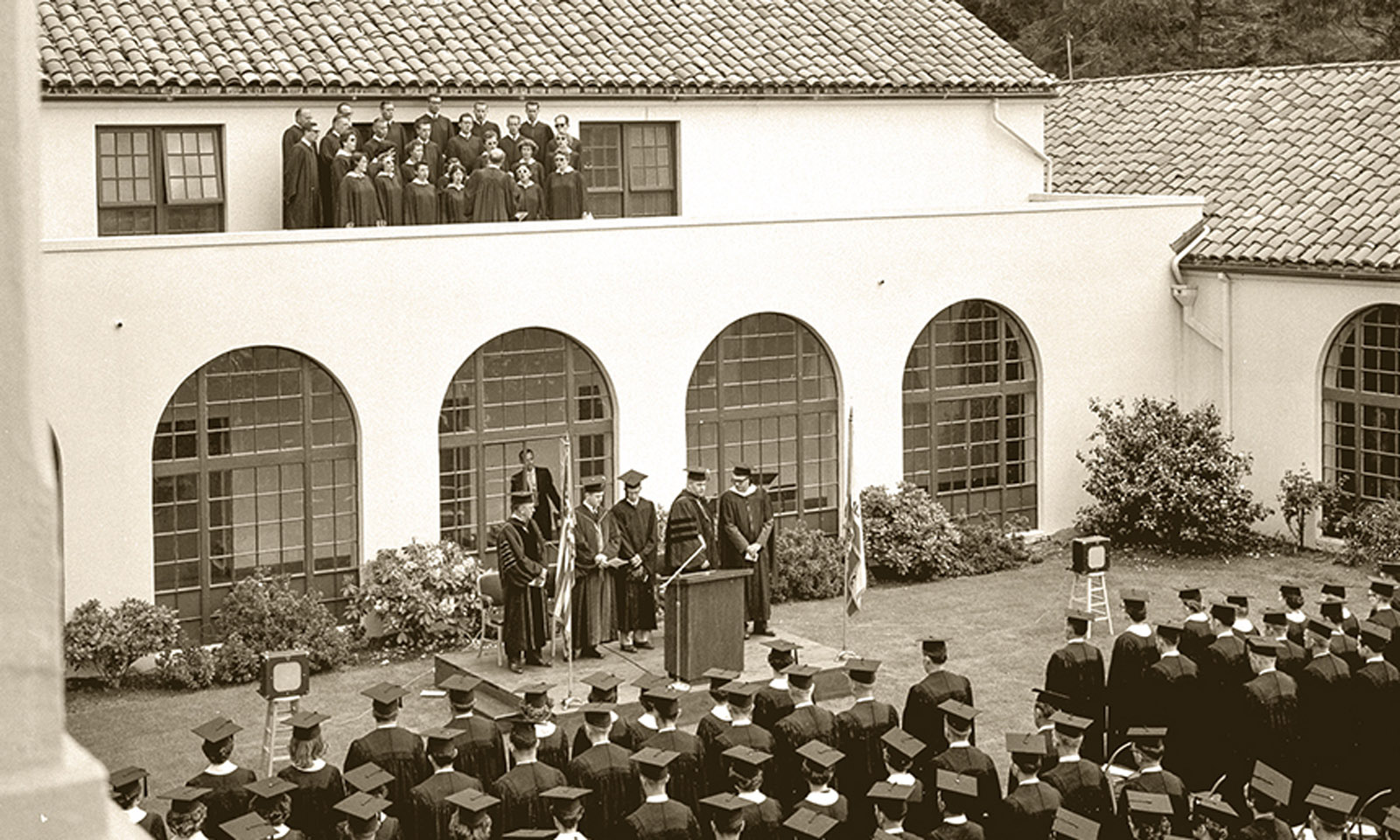 Founders Hall Courtyard during Commencement, 1958