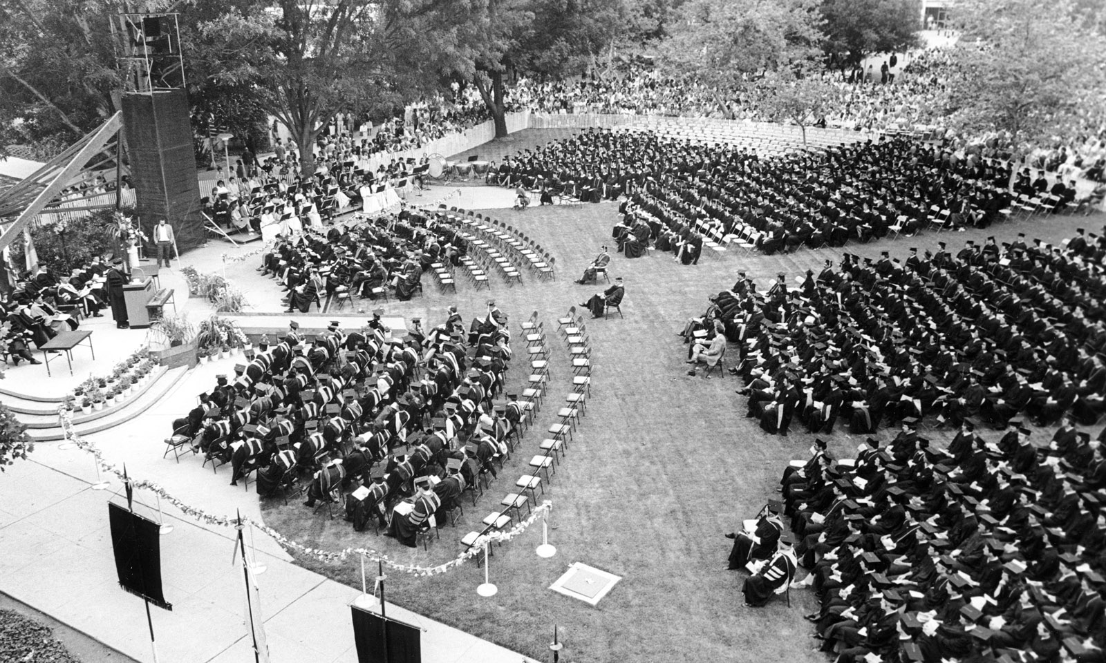 Commencement exercises on June 12, 1982, the first year faculty sat in front at Cal Poly Pomona.