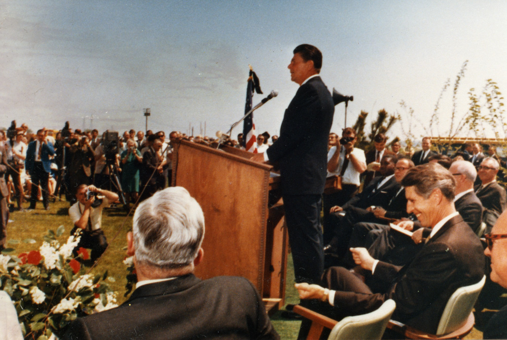 Bakersfield   April 11, 1969  Then-Governor Ronald Reagan speaks at CSUB's groundbreaking ceremony.