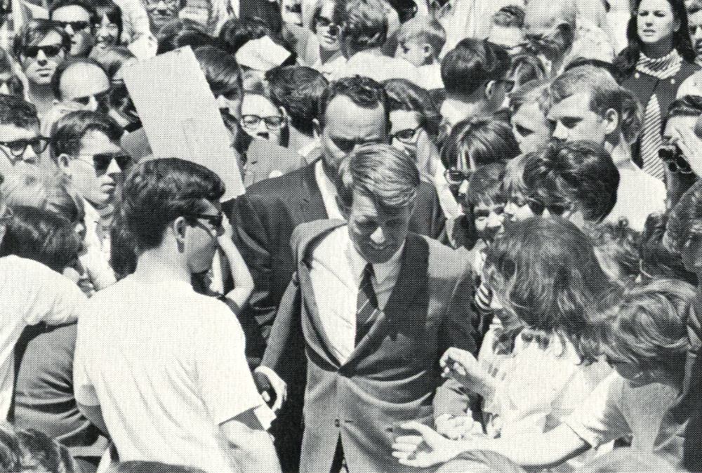 Fresno   April 1968Two months before his assassination, Robert F. Kennedy brings his presidential campaign to the Amphitheater.