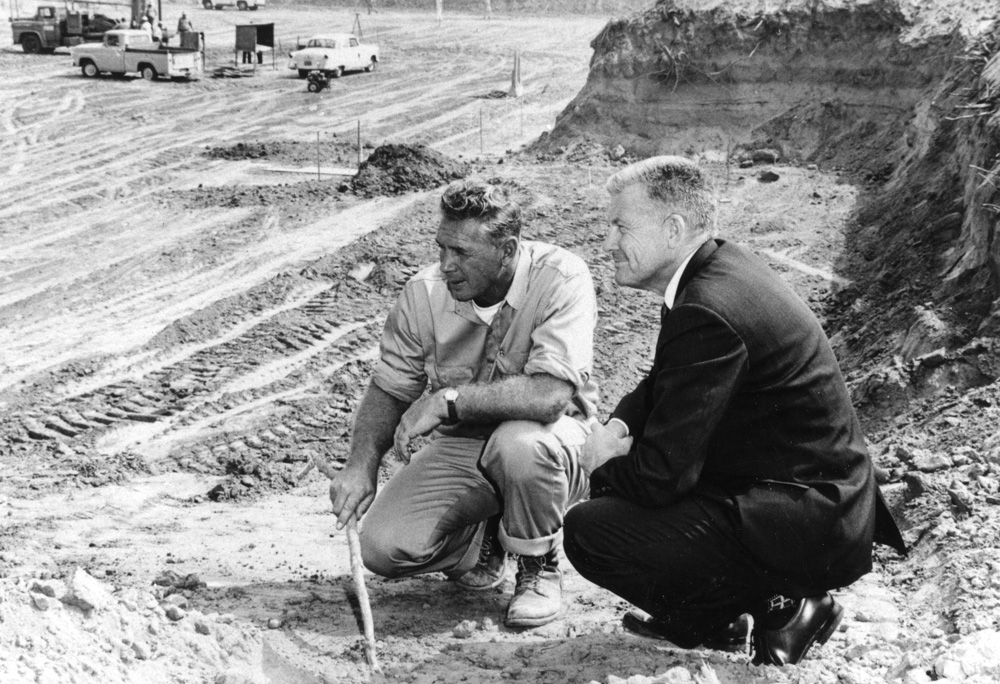Fullerton   1957William Langsdorf (right), founding president of CSUF, and construction superintendent R. Jones (left) at the construction site for the campus's first structure, the Letters and Science Building.