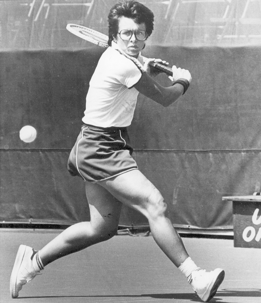 1960s              Cal State LA alumna Billie Jean King plays tennis on campus.