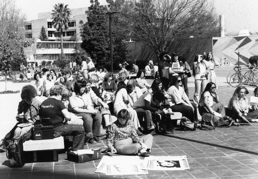 March 1980Protestors gather during the International Working Women's Conference in support of saving part-time faculty positions in the Women's Studies department. In 1971, Sacramento State became the first university in the U.S. to offer a degree in Women's Studies.