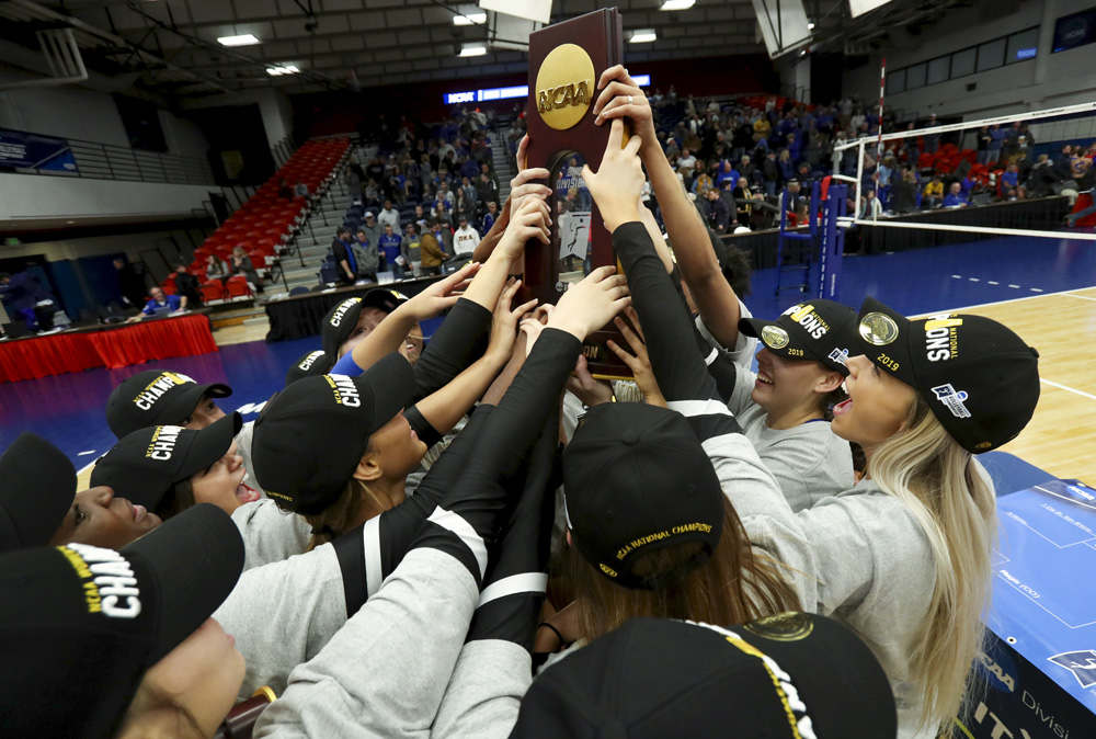 December 2019     The No. 1 ranked Cal State San Bernardino volleyball team completes a historic season as it wins the NCAA Division II National Championship and finishes with a perfect 33-0 record. The Yotes claim the first team national championship, in any sport, in CSUSB school history and become just the third team in NCAA DII Volleyball history to go undefeated.