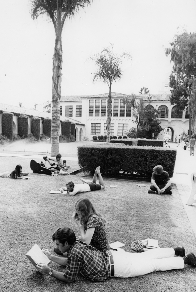 SAN DIEGO   1960Students study on the lawn of the Main Quad behind Hepner Hall.