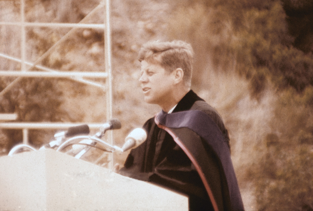 June 6, 1963  Former President John F. Kennedy speaks at SDSU's 65th commencement.                    Listen to His Speech »