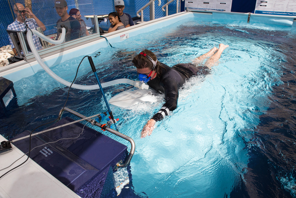 San Marcos​   April 25, 2016Researchers measure oxygen consumption as a student paddles on a surfboard.