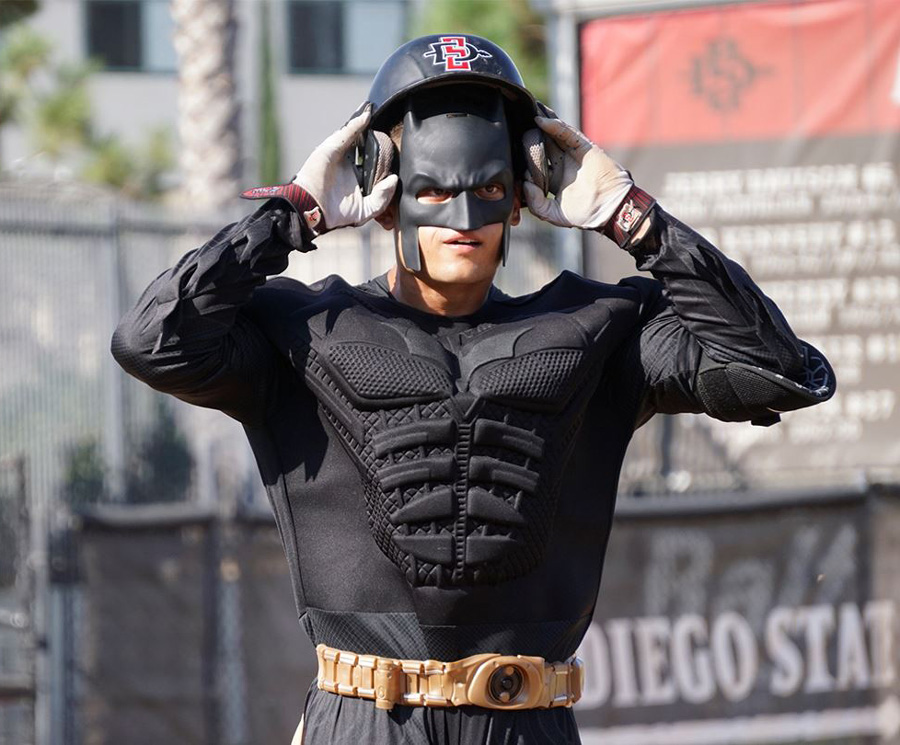 A San Diego State baseball player dresses as Batman.