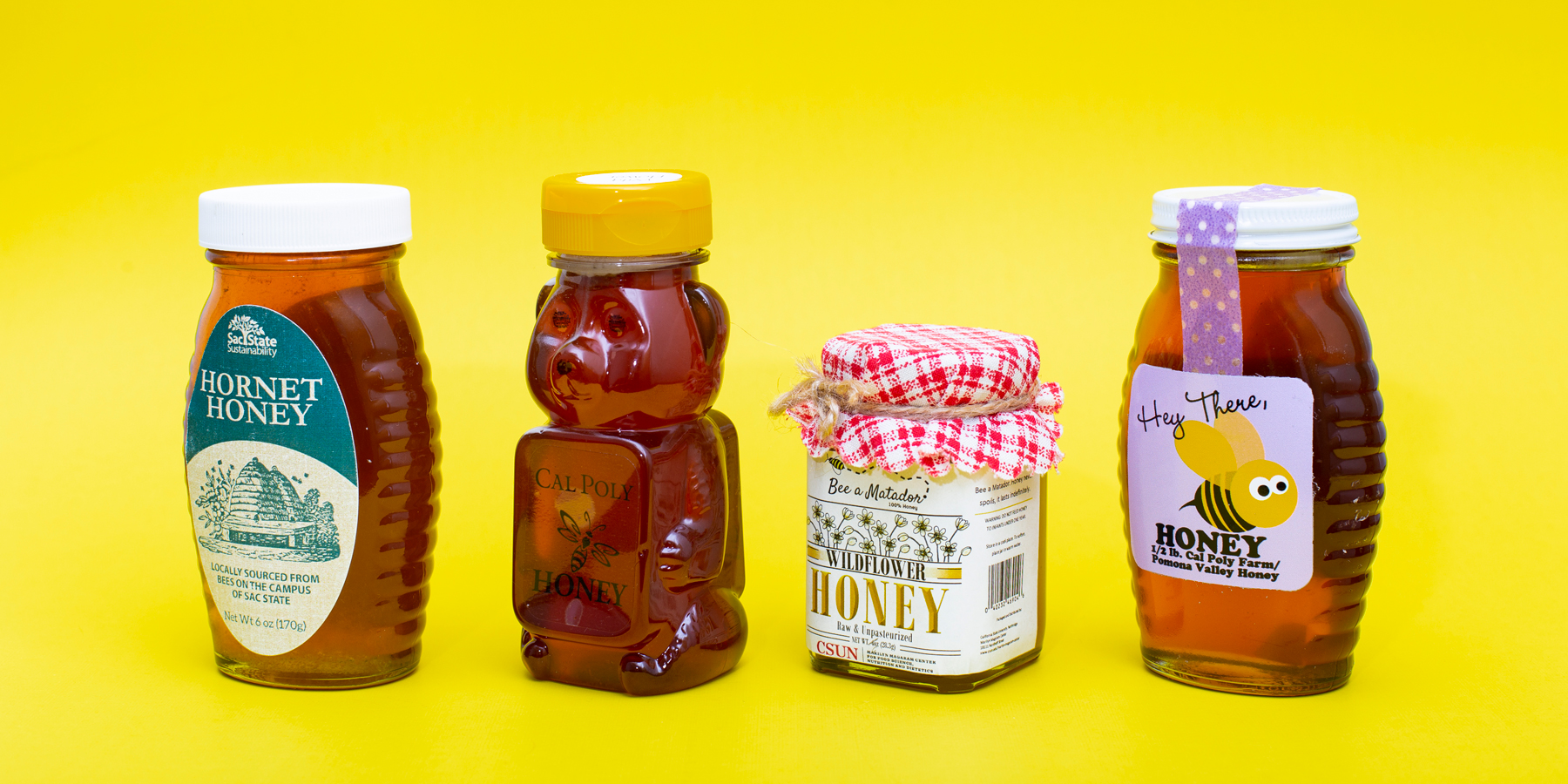 Several CSU campuses make their own honey from on-campus bee hives. From left: Sacramento State's Hornet Honey; Cal Poly San Luis Obispo; CSUN's Bee a Matador Wildflower Honey; and Cal Poly Pomona's Hey There, Honey. (Not pictured: CSU Channel Islands)