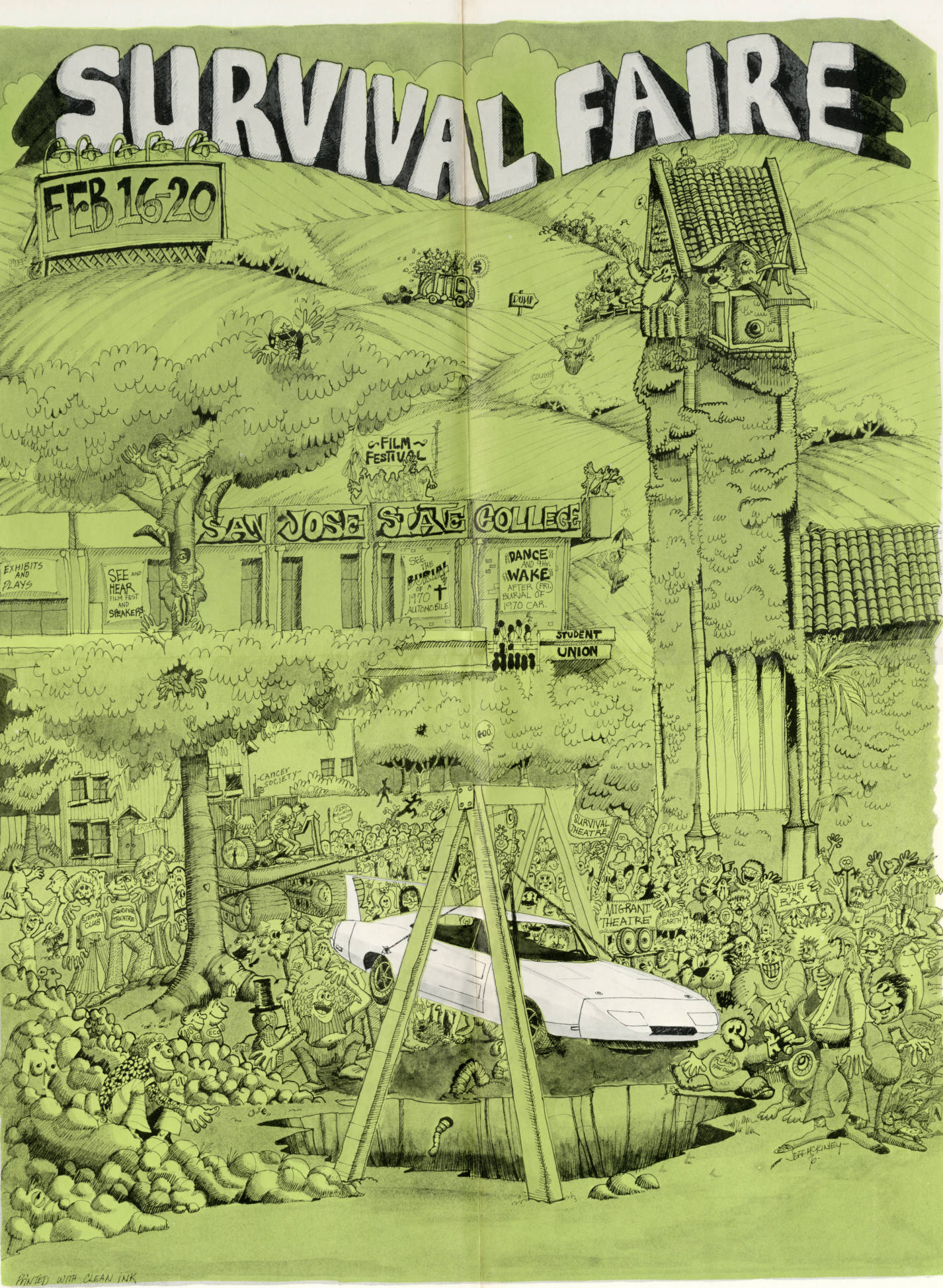 "Poster from San Jose State University promoting the first Earth Day ""Survival Faire"" in Feb. 1970"