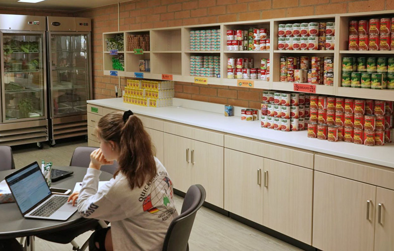 A student sits at a desk at a computer in a food pantry.