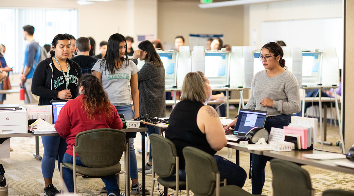 Sacramento State students cast their ballots in Modoc Hall during the March 3, 2020 primary elections.