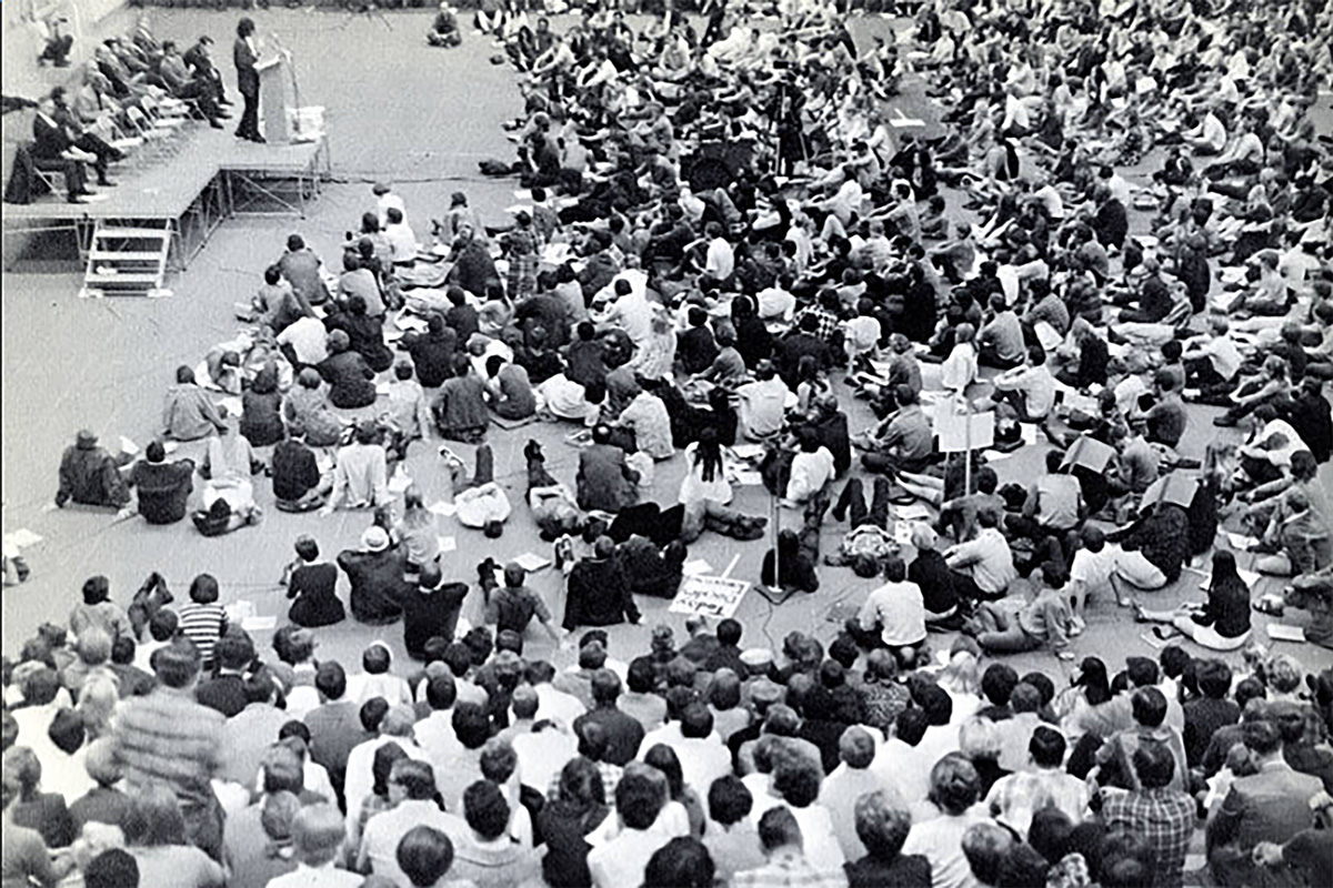 More than 500 students stick it out for a five-hour meeting in 1968 after a CSU Board of Trustees meeting