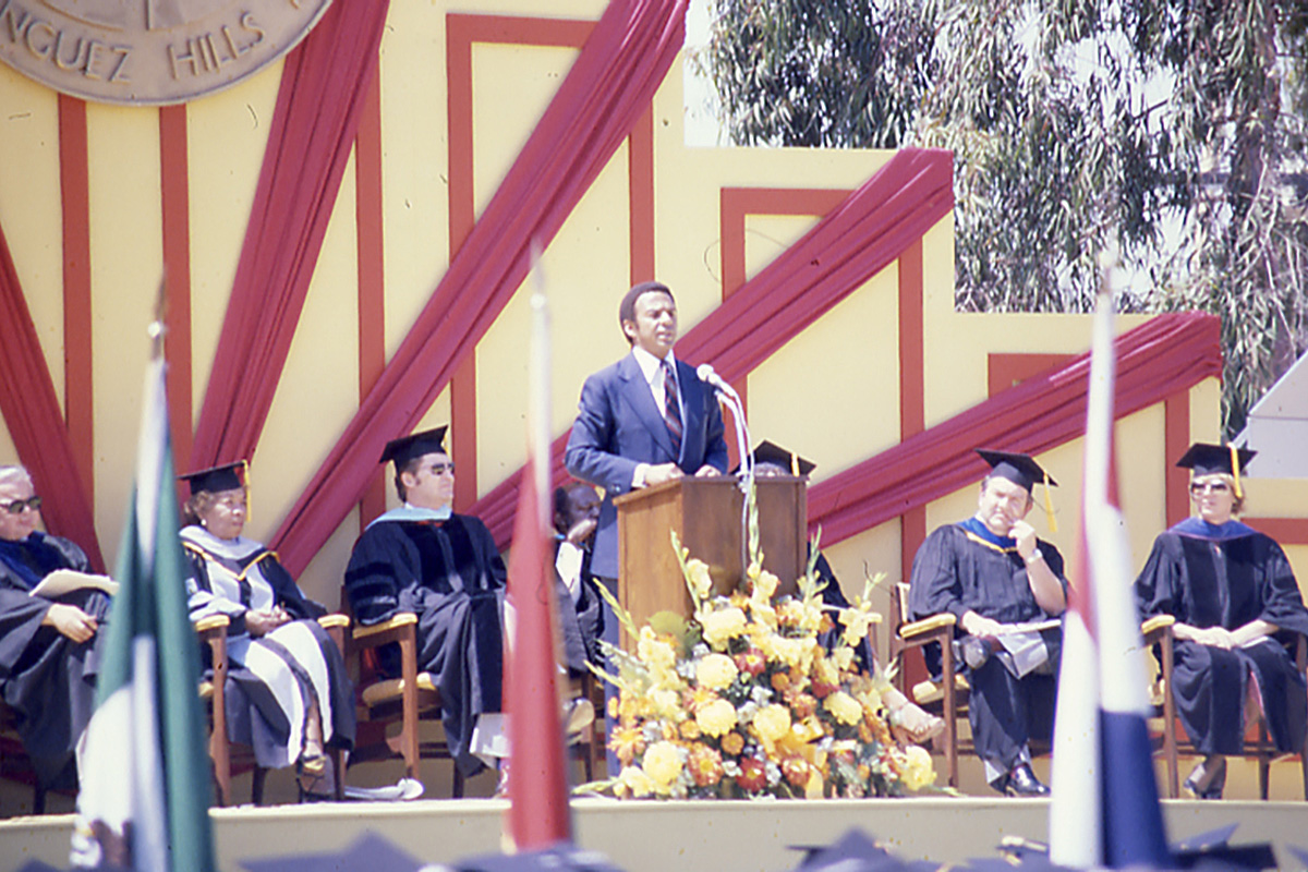 Former Ambassador to the United Nations Andrew Young speaks during commencement on June 14, 1980.