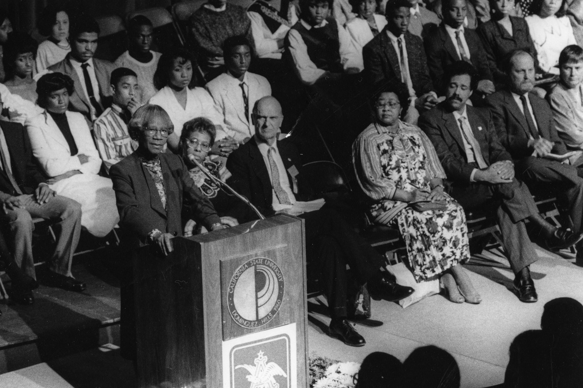 Congresswoman Shirley Chisholm speaks at CSUDH in February 1988.