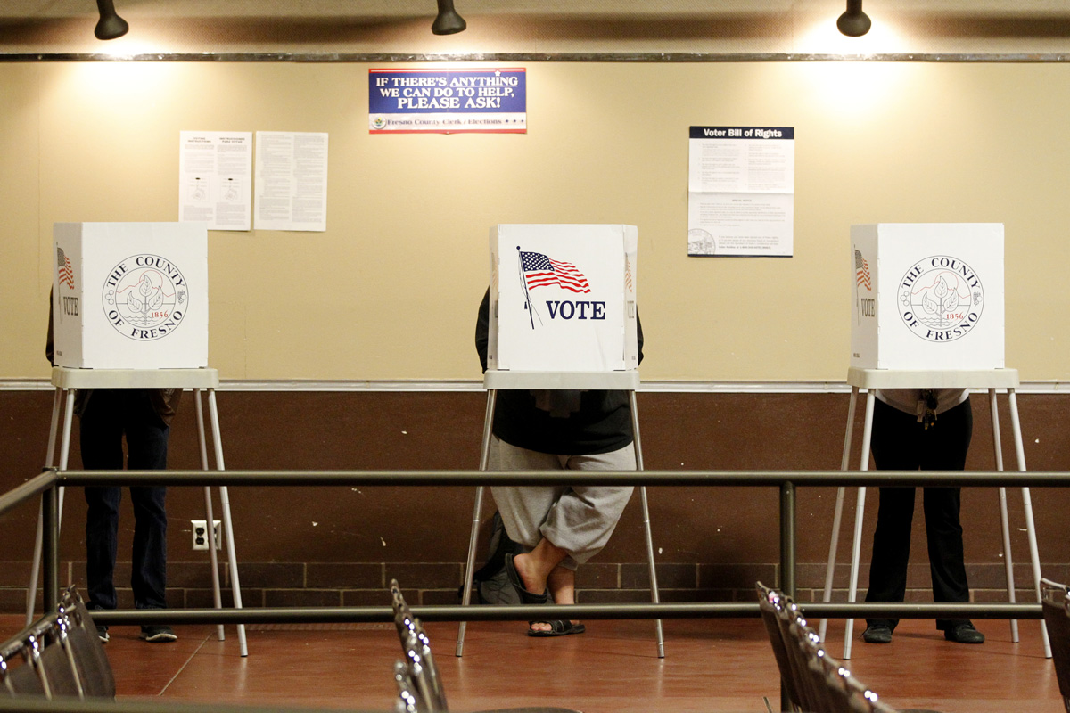 Voters cast their ballots during the 2012 election at Fresno State campus on November 6th.