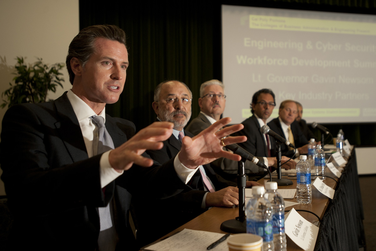 Governor Gavin Newsom, then Lieutenant-Governor, speaks during an Engineering and Cyber Security Workforce Development Summit.