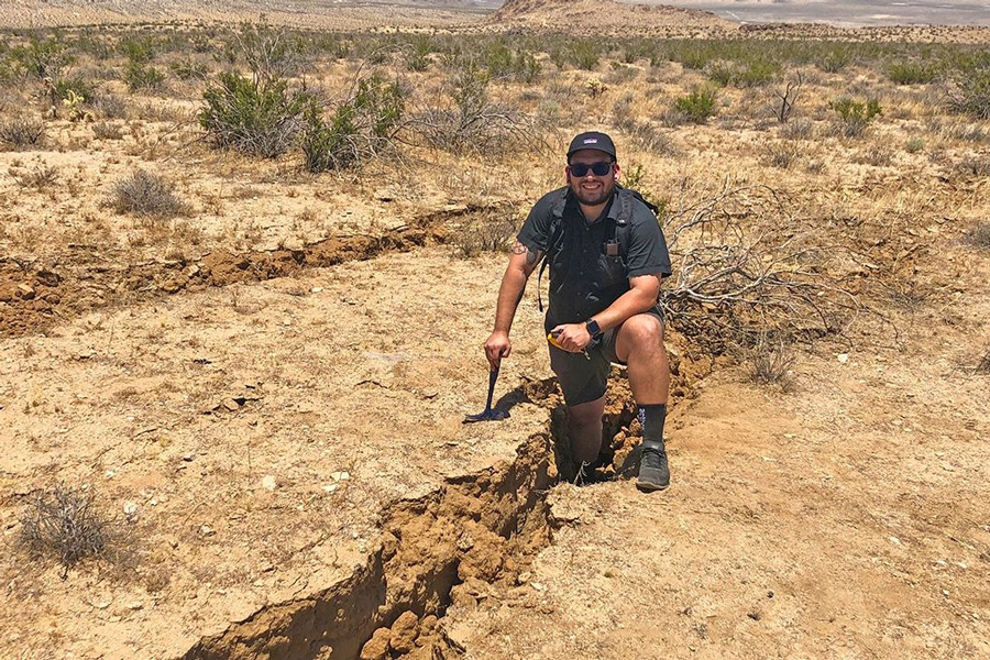 Cal State San Bernardino geology alumnus Bryan Castillo (MS, Earth and Environmental Sciences, '19) was among several geologists, students, researchers, and others who traveled from near and far to investigate the damage wrought by the July 4 and 5 quakes near Ridgecrest.
