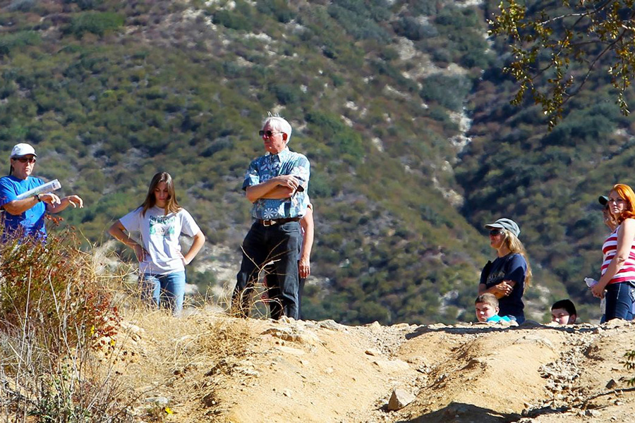 "Joan E. Fryxell, a Cal State San Bernardino geology professor, led a hike to the San Andreas Fault behind the university campus as part of the annual ""Great California ShakeOut"" simulated earthquake drill on Oct. 19, 2019"