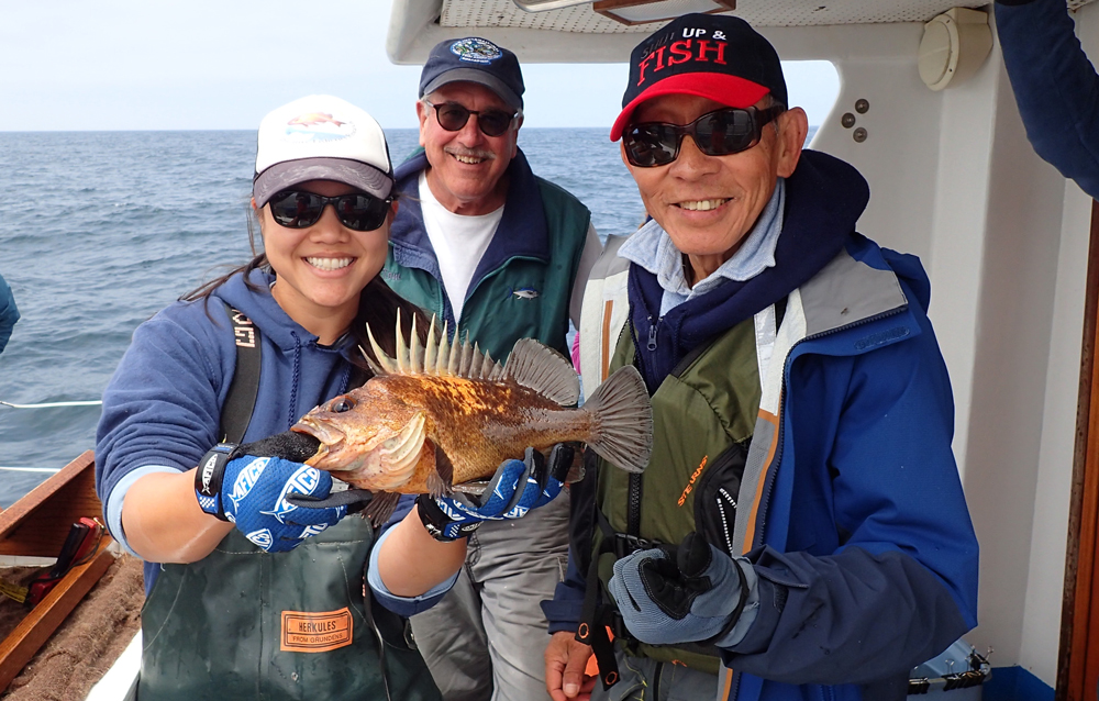 Moss Landing lead field scientist Jen Chiu displays a quillback rockfish