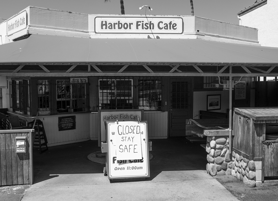 Fish Taco shop in Carlsbad, California with a sign in front. Photograph by James D. Phenicie.