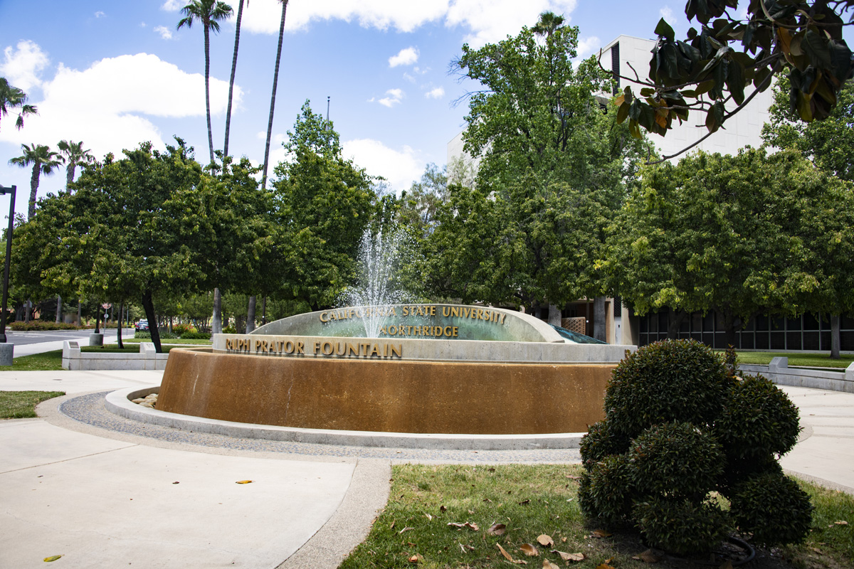 Ralph Prator fountain on the west side of campus. Prator served a 10-year term as the first president of what later became Cal S