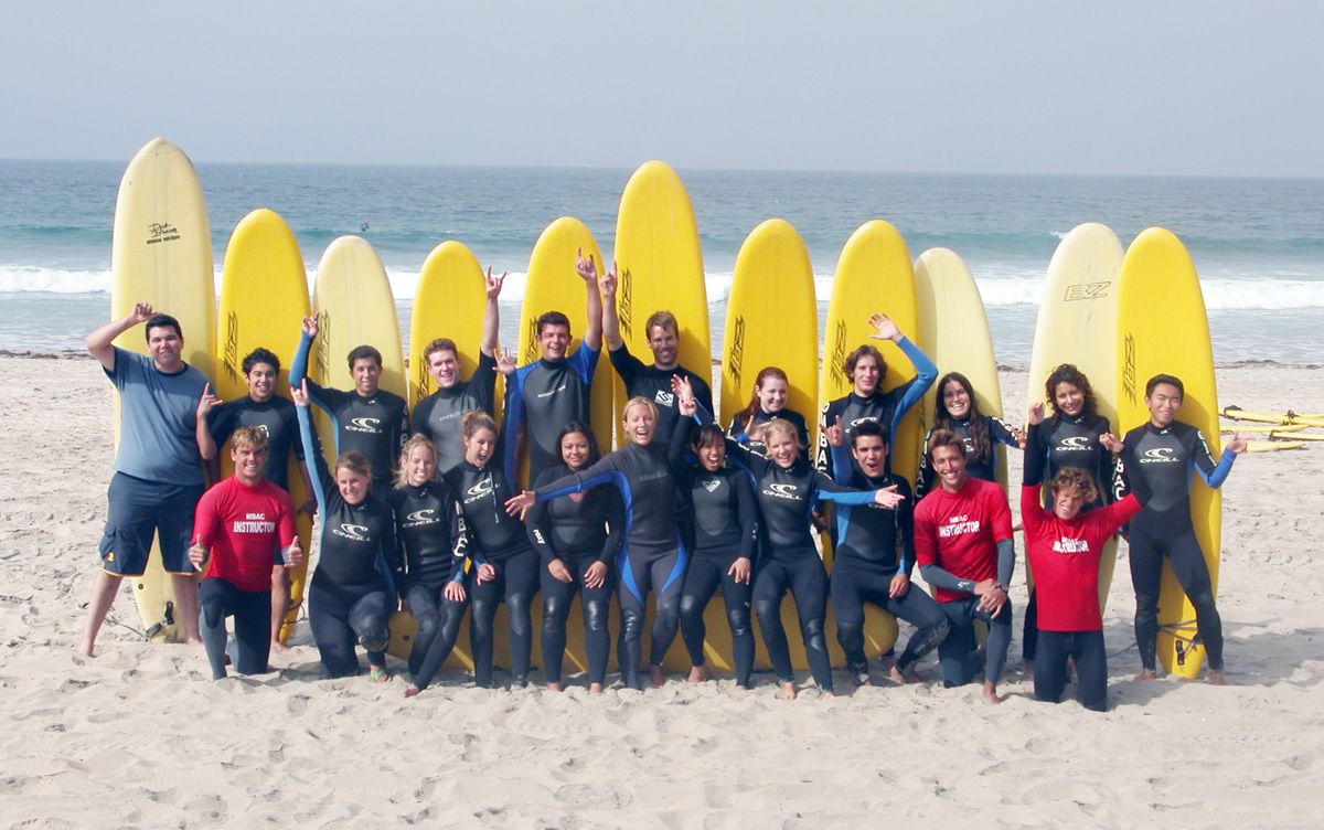Students in a San Diego State surf class hang loose before hitting the waves.
