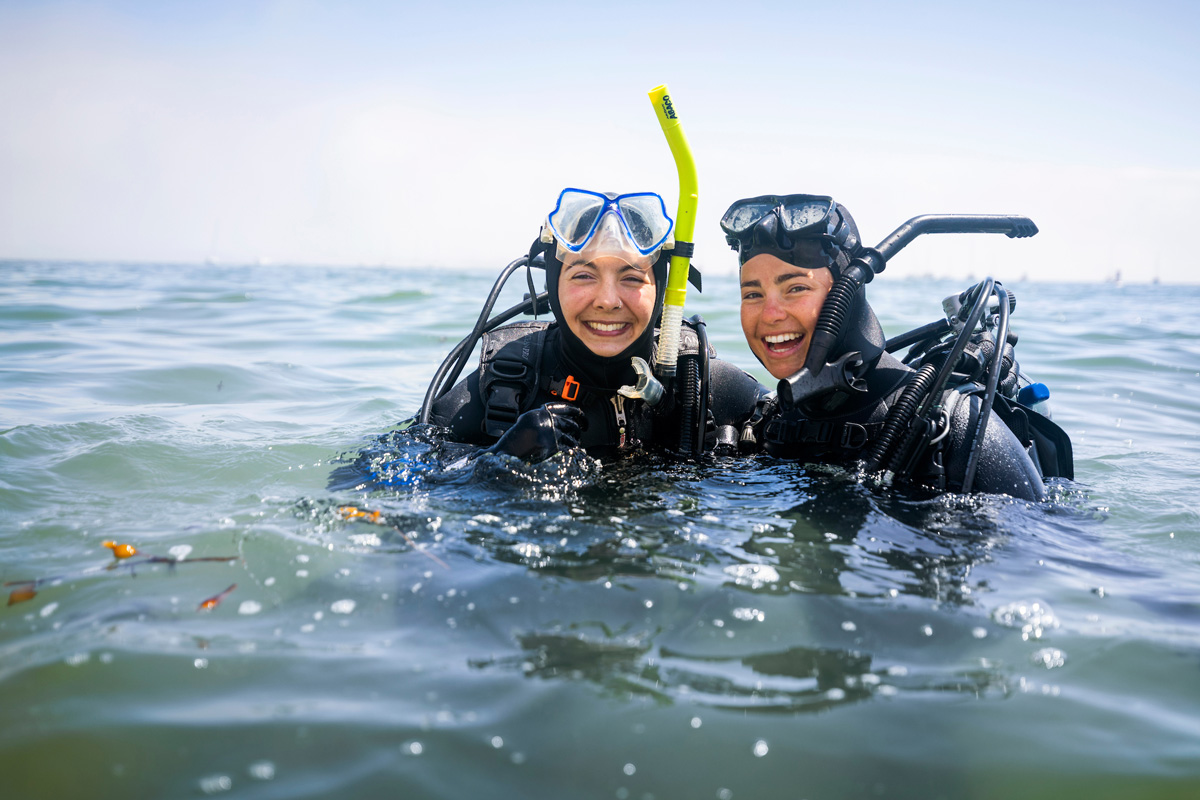 Students from the biology, marine science and animal science departments take part in a Cal Poly Scientific Diving Course