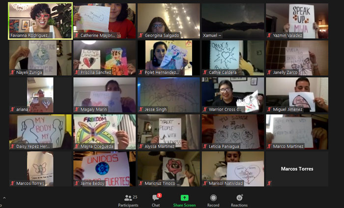 Social Justice Artist Favianna Rodriguez leads Stanislaus State students in a poster-making session via Zoom.