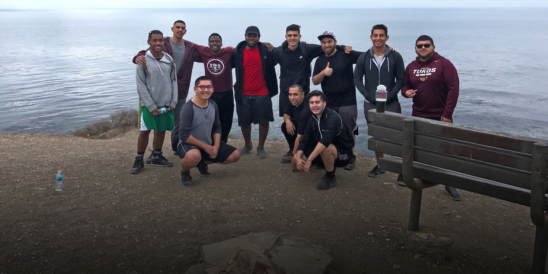 Anthony poses with a group of his MSA brothers on a hike in Palos Verdes.