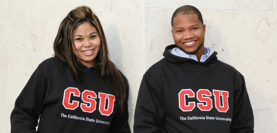 students wearing csu apparel