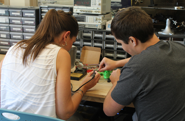 two students working on a project together