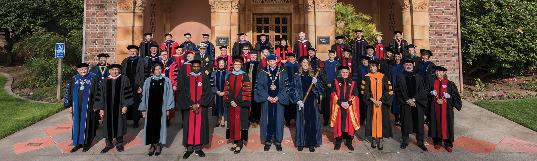 Chancellor White and faculty in academic dress