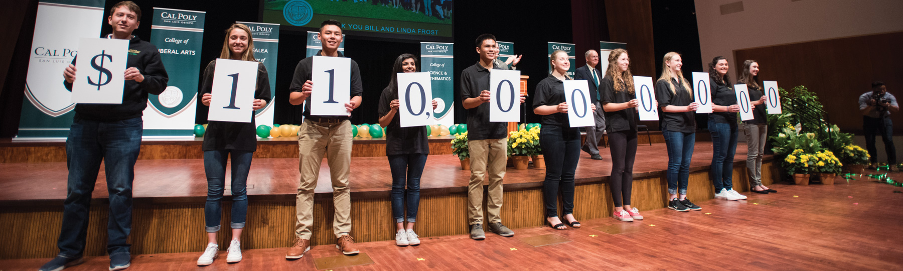 Cal Poly students holding signs that read $110,000,000