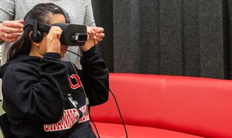 student using an AR device
